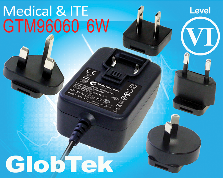 GTM96060-06VV-Q Model is an addition to GlobTek's Level VI compliant GTM96060-06VV-Q family and represents GlobTek's 6 Watt wall plug-in series of AC/DC adapters (power supplies & chargers) with International...