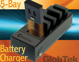 Lithium-Ion battery chargers and cradles meet IEC 60950 (ITE), UL 1310 (Class 2), IEC 60601-1 (Medical) and international EMC standards. GlobTek's 5-bay charger charges battery in three phases: conditioning,...